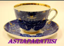 LOMONOSOV, Russian Porcelain Cobalt Fans Trio Tea Cups,lea maker 1kpl,55€
