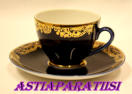 "LOMONOSOV, COBALT BLUE with 24K GOLD COFFEE CUP +SAUCER,Pattern ""GOLDEN Frieze,17kpl,25€/kpl"